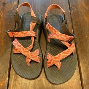 Coral & Brown Chacos